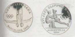 ANDORRA 2 MONEDAS DE PLATA  Nº 56/57 SERIE BARCELONA ALBERTVILLE 1992  SERVEI D'EMISSIÓNS  (E.M. - Andorra