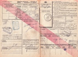 RARE ! TRANSPORT EN SERVICE - DIENSTGUTSENDUNG 1945 - TAMPONS GOUVY - BOVIGNY - RONET - ANTWERPEN NOORD - Railway