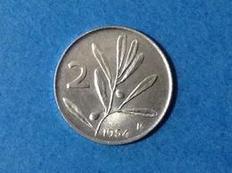 ITALIA REPUBBLICA ITALY COIN MONETA CIRCOLATA 2 LIRE OLIVO 1954 - 1946-… : Repubblica