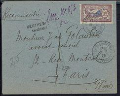 Fr - Merson 60 C Sur Enveloppe Recommandée Provisoire De Perthes En Gatinais, 19-8-1920 Pour Paris - Destinataire Absent - Postmark Collection (Covers)