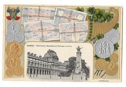 PARIS (75) Carte Gaufrée Pièces De Monnaie Billets De Banque Monument Gambetta Louvre - Sonstige