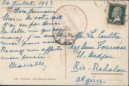 Cachet Gouvernement Général De L'Algérie Service Photographique 1923 Alger CPA Tolga Une Place Et Mosquée YT 170 Pasteur - Covers & Documents