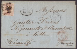 1873. HUELVA A CETTE. 40 CÉNTIMOS CASTAÑO MAT. ROMBO PUNTOS NEGRO. FECHADOR Y TRÁNSITOS. MUY BONITA. - 1872-73 Königreich: Amédée I.