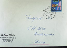 BRD: Ausl-Brief Mit 50 Pf Hilfsdienste Aus Braunschweig Vom 9.11.70 Bedarfspost Nach Schweiz Knr: 633 - Covers & Documents