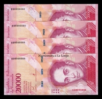 Venezuela Set 4 Billetes 20000 Bolívares 2017 Pick 99c Nice Serial SC UNC - Venezuela