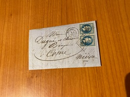 Lettre Du 4 Octobre 1868-  GC 623  ( Briare )- Affr Paire N°29- (port Offert ) - Marcofilie (Brieven)