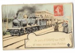 ISIGNY SUR MER (14) Carte Fantaisie Gare Train - Autres Communes