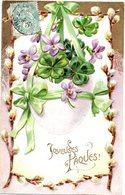 CPA - Embossée Ou Gaufrée  -  Fleurs  , Joyeuses Paques        - écrite - - Autres