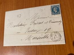 Lettre Du 1er Mars 1868- GC3440 ( Sorgues Sur L'ouveze) -Cachet OR  ( Origine Rurale ) -af N°29- Port Offert - 1849-1876: Klassieke Periode