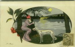 XAVIER SAGER  SIGNED 1900s POSTCARD - COUPLE & MOON & DOG -  L'AVEU - EDIT K.F. PARIS N.4487 (BG770) - Sager, Xavier
