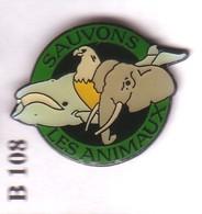 B108 Pin's ÉLÉPHANT BALEINE Aigle Eagle Achat Immédiat - Animaux