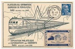 FRANCE - Carte Commémo. Affr 5F Gandon - Expo Philatélique Et Espérantiste Des Cheminots 1948 + Vignette - Esperanto