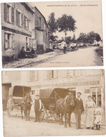 CHEPTAINVILLE  LOT  DE 2 CARTES  -   EPICERIE GAUDRY  -  CARTE PHOTO + CARTE ROUTE D ARPAJON - France