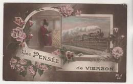Cpa 18 Une Pensée De Vierzon ( Train ) - Vierzon