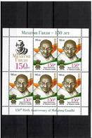 Kyrgyzstan 2019 . 150th Birth Anniversary Of Mahatma Gandhi. M/S Of 5 + Label. - Kirgisistan