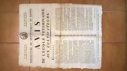 Affiche Avis De L'école Vétérinaire Aux Cultivateurs - Préfecture Du Département Du Rhône - Directeur Bredin Circa 1790 - Afiches