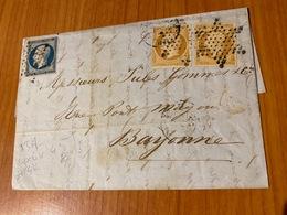 Lettre Du 19 Juin 1855- Belle Oblitération étoile Muette De PARIS -  Aff N°13 (*2) + N° 14-  Port Offert - 1849-1876: Période Classique
