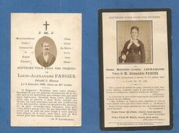 LOT 2 GENEALOGIE FAIRE PART CARTE MORTUAIRE DECES DAME FASSIER LEFRANCOIS 18901893 MEAUX - Décès