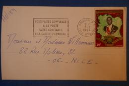 342 COTE D IVOIRE CARTE 1967 ABIDJAN POUR NICE  BEL AFFRANCHISSEMENT CAISSE EPARGNE - Côte D'Ivoire (1960-...)