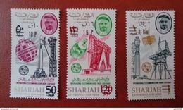 Sharjah Khor Fakkan 1966 - 100th Anniversary Of I.T.U. New Currency Mi 80-82 MNH - Space Satellite Overprint Surcharge - Sharjah