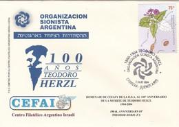 100 AÑOS TEODORO HERZL, ORGANIZACION SIONISTA ARGENTINA, CEFAI. 2004 ARGENTINA FDC ISRAEL JUDAISMO יהדות ישראל -LILHU - Judaísmo