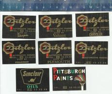 DITZLER PITTSBURGH PAINTS VESPA VALIANT CHRYSLER PLYMOUTH PEUGEOT SINCLAIR OILS DINOSAUR Matchbox Labels Belgium - Boites D'allumettes - Etiquettes