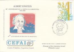 ALBERT EINSTEIN, 80° ANNIVERSARY OF HIS VISIT TO ARGENTINA, CEFAI. 2005 FDC ISRAEL JUDAISMO יהדות ישראל -LILHU - Albert Einstein