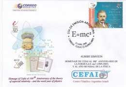 ALBERT EINSTEIN, HOMENAJE 100 AÑOS DE LA FORMULA E=MC² FISICA PHYSICS, CEFAI. 2005 ARGENTINA FDC יהדות ישראל -LILHU - Albert Einstein
