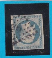 N° 14 A F  Bleu Laiteux PC 295  BAYONNE  ( 64 )  BASSES PYRENEES    - REF 14112 - 1853-1860 Napoleon III