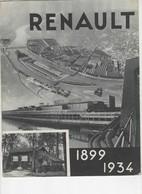 624  BROCHURE PUBLICITÉ  ANCIENNE Usines RENAULT 1899 1934  Billancourt Voitures Camions - Voitures