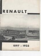 625  BROCHURE PUBLICITÉ  ANCIENNE Usines RENAULT 1897 1933  Billancourt Voitures Camions - Voitures