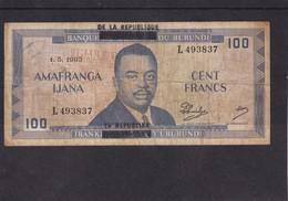 Burundi 100 Fr 1965 RARE Overprint - Bankbiljetten