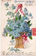CPA - Embossée Ou Gaufrée  -  Fleurs  ,  Offrande Du Coeur    - écrite - - Fancy Cards
