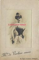 Format Grand CDV-(CAB)  Lingerie- Corset-femme Mannequin  Taille Fine De La Maison De Vertus Soeurs Rue Auber Paris - Old (before 1900)
