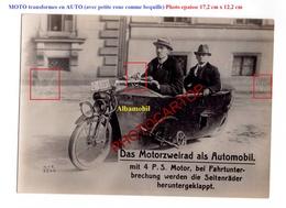MOTO Transformee En AUTO-ALBAMOBIL-Technique-Nouveaute-NON SITUEE-Grosse PHOTO Epaisse De Presse - Motos