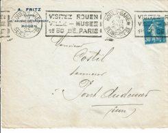 """1925 - Oblit KRAG 1ere Génératin - ROUEN-GARE """"VISITEZ ROUEN VILLE-MUSEE -1h50 DE PARIS"""" - Tp N° 192 - Marcophilie (Lettres)"""
