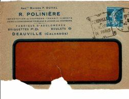 """1925 - Obliération DAGUIN """"DEAUVILLE A  HEURES DE PARIS""""Tp Semeuse N° 192 - Marcophilie (Lettres)"""
