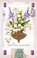 CPA - Embossée Ou Gaufrée  -  Fleurs ,  Bon Souvenir    -   écrite - - Fancy Cards