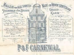 Brugge Bruges  Magazijn Van Alle Soorten Steenstraat 18 Te Brugge P And F Carnewal Man En Vrouw Stoffen M 1886 - Belgique