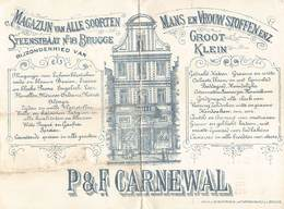 Brugge Bruges  Magazijn Van Alle Soorten Steenstraat 18 Te Brugge P And F Carnewal Man En Vrouw Stoffen M 1886 - België