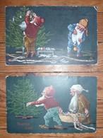 CPA / Lot De 2 Cartes Postales Anciennes / Nains De Noël Illustrateur TM - Paintings