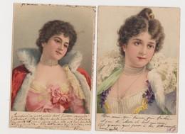 2 Cpa Fantaisie / Jeunes Femmes Avec  Beaux Vêtements Et Bijou - Vrouwen