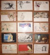 CPA / Lot De 15 Cartes Postales Anciennes / Illustrations Art Nouveau - Peintures & Tableaux