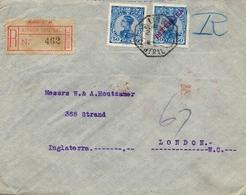 1911 PORTUGAL , LISBOA - LONDRES , SOBRE CERTIFICADO, LLEGADA AL DORSO , D. MANUEL II - 162 , 176 - 1910 : D.Manuel II
