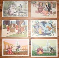 CPA / Lot De 6 Cartes Postales Anciennes / Illustrations Hommes Faisant Lacour Aux Femmes - Paintings
