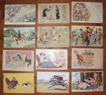 CPA / Lot De 12 Cartes Postales Anciennes / Illustrations Humour /b - Humour