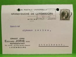 Édouard Joris, Luxembourg. Envoyé à Ettelbruck 1937 - Entiers Postaux
