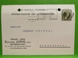 Édouard Joris, Luxembourg. Envoyé à Ettelbruck 1937 - Ganzsachen