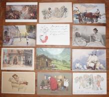 CPA / Lot De 12 Cartes Postales Anciennes / Illustrations /c - Illustrateurs & Photographes