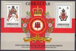 GIBRALTAR Block 12, Postfrisch **, 50 Jahre Regiment Von Gibraltar 1989 - Gibraltar